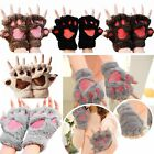 Cute Winter Bear Fluffy Cat Paw Claw Scared Glove Soft Fingerless Gloves Mittens