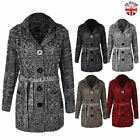 WOMENS LADIES GRANDAD CARDIGAN LONG SLEEVE BELTED BUTTON CHUNKY KNITTED JUMPER