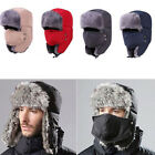 Mens Winter Fur Ushanka Trapper Hat Aviator Earflap Ski Hat Cap Hunting Trooper
