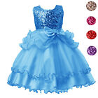 Sequined Party Prom Birthday Kids Ruffled Princess Flower Girls Dresses Clothes
