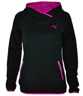 PUMA TECH WOMENS HOODY HOODIE BLACK PURPLE LONG SLEEVE FLEECE ACTIVE STRETCH