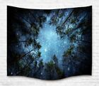 Psychedelic Forest Trees and Stars Starry Sky Fabric Wall Hanging Tapestry Decor