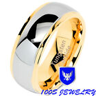Tungsten Rings For Mens Wedding Bands Two Tones Gold Silver Engagement Size 6-16