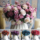 15heads Artificial Rose Bouquet Fake Silk Flower Party Home Garden Floral Uk