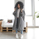 Women Real Fur Collar Long Thick Down Jacket Pure Colour Big Warm Hooded Rare