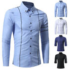 Gentel Mens Casual Solid Slim Fit Long Sleeve Dress Formal Shirt Tops 5 Size New