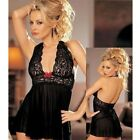 Sexy Babydoll Lingerie Chemise Nero Tulle Con Inserti In Pizzo Intimo Donna