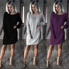 Womens Cable Knitted Sweater Long Sleeve Pullover Loose Jumper Round Neck Dress