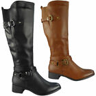 Womens Boots Below Knee Long Calf Rider Boots Zip Mid Heel Winter New Shoes Size