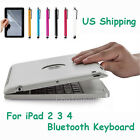 US Bluetooth Keyboard With Power Bank Clam Shell Case Cover For Apple iPad 4 3 2