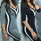 Womens Long Sleeve V Neck Ladies Jumper Casual Evening Party Mini Slim Dress