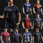 Mens Marvel Superhero Compression T Shirt Cycling Sports Fitness Gym Tops Shirts