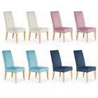 Honden 2 PC Dining Chairs Elegant Quilted Velvet Fabric with Oak Legs - 4 Colors