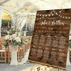 Personalised Wedding Table Seating Plan- RUSTIC WOOD LOOK - 4 SIZES
