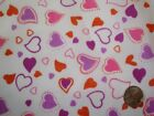 Purple Pink Red Curvy Hearts Dots on White Poly Cotton Shabby Chic Fabric FQ