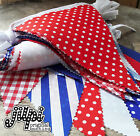 3m-12m JILPI RED WHITE BLUE FABRIC BUNTING BANNER, GINGHAM STRIPED PLAIN SPOTS!