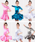 2018 New Style Satin Girls Red White Silver Pink Latin Dance Dress Skirt Costume