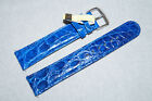 Genuine Croco Alligator Leather Handmade 20mm Watch Strap Band Blue