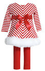 Bonnie Bonnie Jean Girls' Red Stripe Christmas Knit Dress and Legging Set 2T-4T
