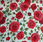 Red Roses on Ivory Cotton Polyester Chambray Fabric -Ideal for 50's Dress