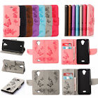 Sony Samsung Wiko Emboss Big Butterfly Strap Wallet Card Leather Case Cover MT