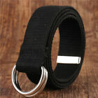 Unisex Men's Double D Ring Pin Buckle Waist Belt Canvas nylon Belt Waistband