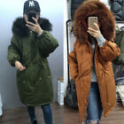 Womens Real Raccoon Fur Collar Coat Duck Down Jacket Hooded Parka Oversized Coat