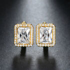 Luxury Small Hoop Earring with 2ct Princess Cut CZ Crystal for Women Gold Plated
