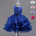 Sequined Lace Flower Girl Dress Children Clothes Wedding Birthday Party Gowns