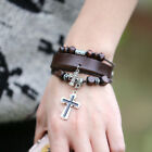 Men Double Jesus Cross Wooden Beaded Adjustable Leather Bangle Bracelet
