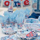 Nautical 1st First Birthday Boys Blue Party Supplies Tableware Decorations