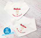 Personalised first Christmas Baby Bib Christmas gifts Embroidered Keepsake xmas