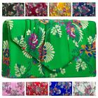 Women's New Pleated Satin Floral Detail Embroidered Party Clutch Bag