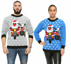 Mens Funny Novalty Xmas Santa and Rudolph on Bike knitted Christmas Jumper S-XL