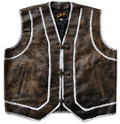 Vest Leather distressed Brown Motorcycle style with white strings