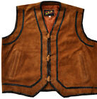 Vest Suede Leather Motorcycle style camel brown color
