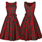 Women Vintage Retro Plaid 50s 60s Rockabilly Evening Party Pinup Swing Dress US