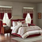24pc Burgundy & Taupe Embroidered Comforter Set, Sheets, Pillows, Curtains AND M