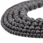 "Kyпить Natural Black Lava Beads Round Volcanic Rock Gemstone 15"" 4 6 8 10 12 14mm sizes на еВаy.соm"