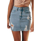 EP_ Women High Waist Pencil Skirt Sexy Bodycon Denim Beach Ripped Mini Skirt Sal