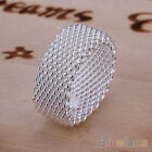 EP_ Women's Wide Net Woven Mesh Finger Ring Silver Plated Jewelry Charms Stylish