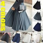 Women Vintage Long Pleated Skirt Elegant High Waist Maxi A-line Dress Casual Hot