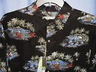 BATIK BAY, BIG & TALL ISLAND SHIRT, SIZE: LARGE TALL,  BLACK PRINT, NEW WITH TAG