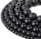 "Natural Matte Black Onyx Beads Genuine Smooth 15""Strand 4mm 6mm 8mm 10mm 12mm"