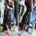 Summer Bobo Floral Embroidery Lace  Maxi Transparent Mesh Party Dress Plus Size