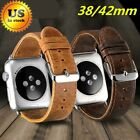 Apple Watch Band Genuine Leather Strap Wrist 38/42mm For iWatch Series 3/2/1