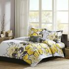 Luxury Yellow Grey  White Floral Duvet Cover Bedding Set AND Decorative Pillow