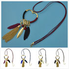 New Women Vogue Boho Love Circle Feather Pendant Sweater Chain Necklace