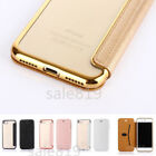 Luxury Slim Card Wallet Plating PU Leather +TPU Flip Clear Case Cover For iPhone