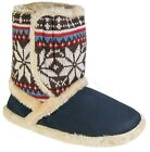 Womens Ladies Boot Slippers / Navy Blue Warm Lined Touch Fastening Coolers
